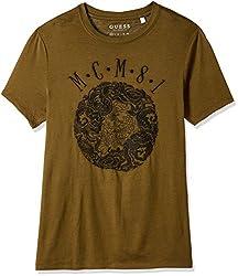 GUESS Mens Cotton T-Shirt (190761698872_M71391K41E4_Large_Olive)