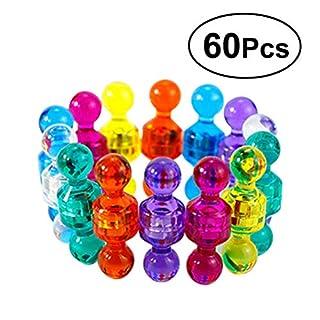 YEAHIBABY Push Pin Magnete,bunte Kühlschrankmagnete für Kühlschrank trocken löschen Board und Whiteboard Magnete,60 Stück