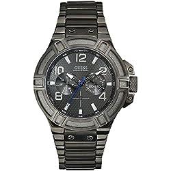 Guess W0218G1 - Reloj con correa de metal para hombre, color negro