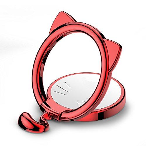 Anello supporto telefono, paipai anello smartphone, anello supporto cellulare forma di gatto, rotazione di 180 ° e rotazione a 360 ° anello per iphone universale anello del supporto / finger ring stand per iphone x 8 8 plus 7 7 plus, samsung galaxy, note, lg, psp (cat2-rosso)