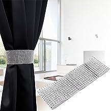 CLE DE TOUS - Abrazaderas para cortina Alzapaños Diamante Brillante Longitud 40cm Color Plateado (2pcs 6cmx40cm)