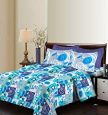 Bombay Dyeing Breeze Beautiful and Attractive Multicolor Graphics Design 140 TC Cotton Double bedsheet WTH Two Pillow Cover,Multi