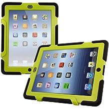 kwmobile Funda protectora híbrida para Apple iPad 2 / 3 / 4 - Carcasa dual para tablet de goma y plástico en verde negro