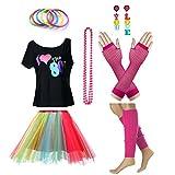 Fun Daisy Clothing Damen I Love The 80er Jahre T-Shirt 80er Jahre Outfit Zubehör, Regenbogen - UK 16-18 / L-XL