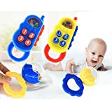 Amazemarket Random Newborn Baby Infant Educational Toy Hand Phone Ring Rattle Sound Spin Sand Hammer Shaker Activity Play Washable Kids Gift (random Sand hammer)