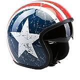 Casco del motociclo VIPER V06 US STAR Jet Casco Moto Scooter Caschi Touring Donna e uomo con PARASOLE (XS)