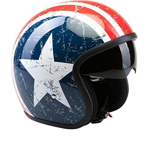 MOTORRADHELM VIPER V06 US STAR JETHELM ROLLERHELM MIT INNENVISIER (XS)