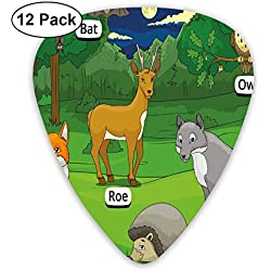 Guitar Picks 12-Pack,Forest With Cartoon Animals With Names Educational Intellectual Fun Kids Game