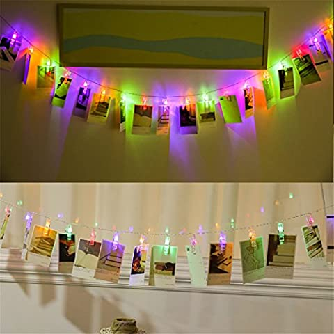 iRegro LED Photo Clip String Lights 3m Waterproof Battery Powered Colorful light with 30 Photo Clips, Perfect for Hanging Pictures, Notes, Cards, Memos and Artwork (Couleur)