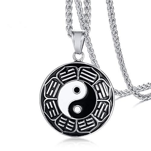 LF Edelstahl Customized Yin Yang Halskette, personalisierte Lotus Mandala Yoga Halskette Tai Chi Anhänger tibetischen buddhistischen Schutz Amulett Schmuck für Männer Frauen,kostenlose ()