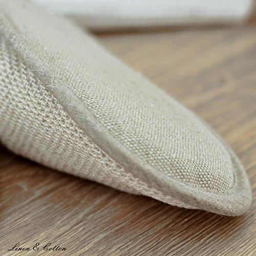 Linen & Cotton, Chaussons de Bain de Luxe FAVO - 50% Cotton, 50% Lin Beige