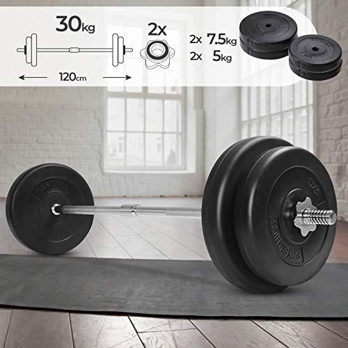 Physionics Barra de musculación de Pesas 30 kg - Barra Larga 120 cm con 4 Discos