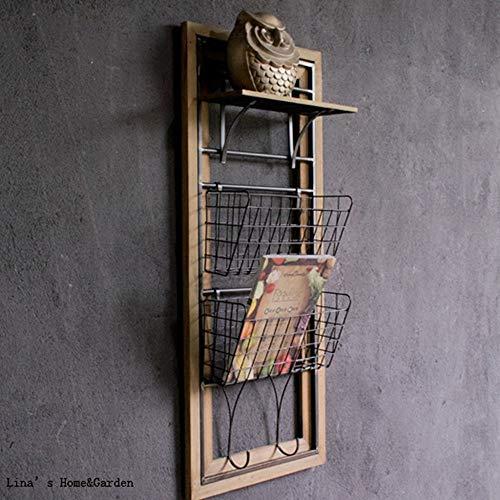 Soenvhg mensola a muro in metallo lavorato a mano in legno con ganci