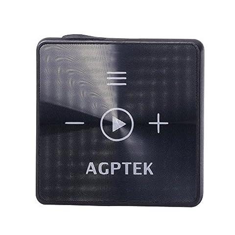 8GB Clip MP3 Player Tragbarer Bluetooth Empfänger Mini Musik Player als Bluetooth Empfänger für Kopfhörer, Lautsprecher, KFZ Lautsprechersystem, von AGPTEK A15, Schwarz