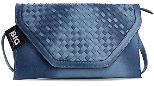 Big Handbag Shop donna tessuto ecopelle Busta Frizione Wristlet Borsa Blue (NL195)
