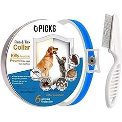 U-picks Collier anti-puces et tiques pour chiens et chats, 6mois, protection non-toxique, sans allergène, étanche