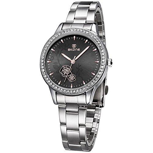 casual wristmontre à bracelet de quartz de luxe de fleurs d'or de robe pour les femmes filles-cadran noir