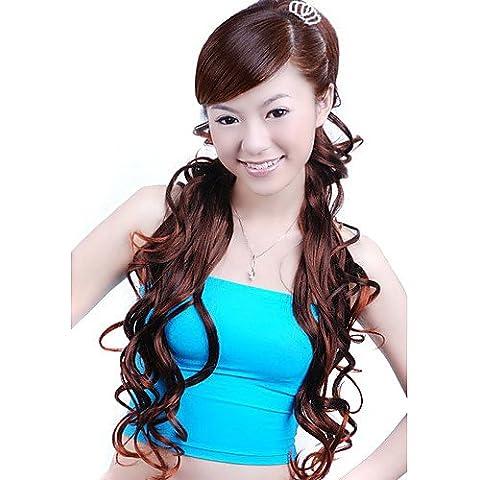 Moda pelucas de Cosplay naturales peluquín sintético extra largo y rizado castaño rojizo intensificador de volumen (jf1194)