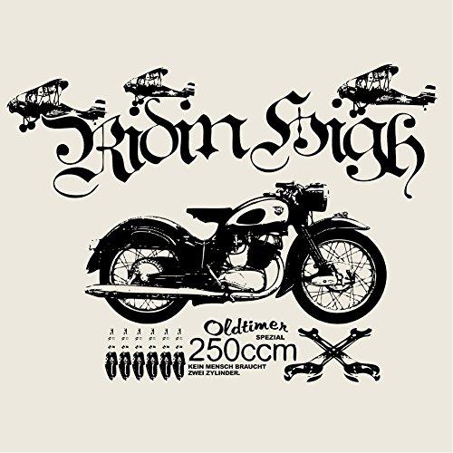 Biker T-Shirt für Herren OLDTIMER MOTORRAD natur Größe S-XXL Naturweiß