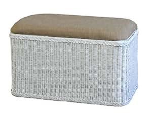 panier 224 linge en rotin avec assise rembourr 233 e blanc rectangulaire fr cuisine maison