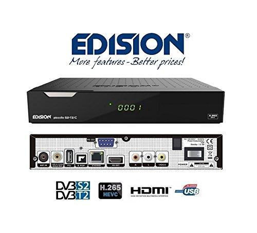 Edision PICCOLLO S2+T2/C Combo Receiver H.265/HEVC (DVB-S2, DVB-T2, DVB-C,) CI Full HD USB schwarz Rca Combo Kabel
