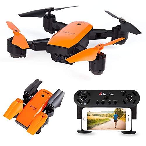 le-idea IDEA7 - GPS Drohne mit 1080P Fov 120 ° Kamera, WiFi FPV HD live übertragung, Follow Me , GPS Rückkehr Haus, RC Helikopter für Anfänger und Experte,Orange Color (Aktualisierte Version)