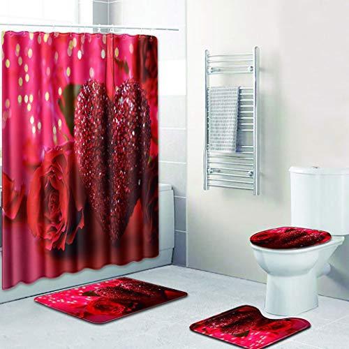 Duschvorhang Teppich Mat Set Set Rose Herz Muster Duschvorhang und 3 Matten (Badezimmer Matte + Podest Teppich + WC Sitzbezug) Rutschfeste wasserdichte Badezimmer Duschvorhang Set ()