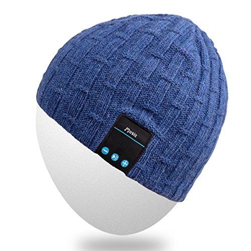 Mydeal Waschbar Winter-Unisex Hat Bluetooth Beanie Short Skully Cap mit Bluetooth-Stereo-Kopfhörer Mic Hands Free Akku für Handys, iPhone, iPad, Android, Laptops, Tablets - Blau