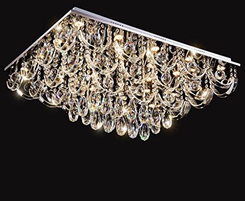 Preisvergleich Produktbild LED quadratische Atmosphäre Wohnzimmer Schlafzimmer Lampe Edelstahl Lampe Körper Tricolor Fernbedienung Kristall Deckenlampe (mit Lichtquelle, mit Fernbedienung)