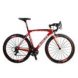 SAVADECK Herd 9.0 700C Bicicleta de Carretera con Bici de Fibra de Carbono con Campagnolo Centaur 22 Speed Groupset y Fizik Saddle (52cm, Blanco Rojo)