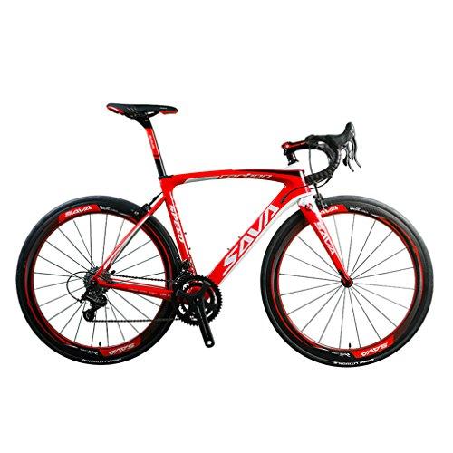 SAVADECK HERD9.0 700C Bici da Strada Fibra Di Carbonio Ciclismo con CAMPAGNOLO CENTAUR 22-Velocità Sistema e Fi'zi: k Cuscino (52cm, Bianco Rosso)