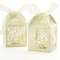 50Pcs Wedding Party Favour Boxes,Benbilry Sweet Candy Boxes with 50 Ribbons (Beige)