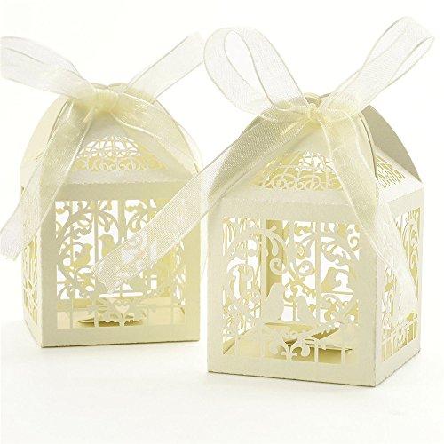 Benbilry 50 Stück Gastgeschenk Hochzeit Süßigkeiten Schachtel Geschenkbox Kasten Hochzeit Party Dekoration Beige