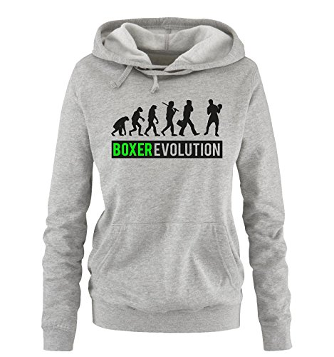 Comedy Shirts - Boxer Evolution II - Damen Hoodie - Grau/Schwarz-Neongrün Gr. L -
