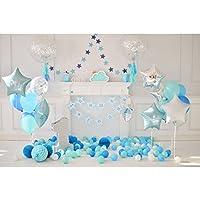 LEDMOMO 3D Fondo de Foto de Banquete de Primer Cumpleaños con Globos Fondo de Pared Apoyos de Pared Decoraciones para Bbeés Tomar Fotos Fiestas 5 x 3 pies (Azul)