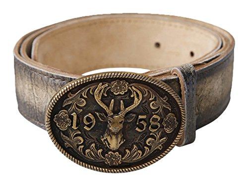 Krüger Buam Trachtengürtel Gürtel Leder Tracht verschiedene Größen und Modelle (95, Zwölfender bronzefarben)