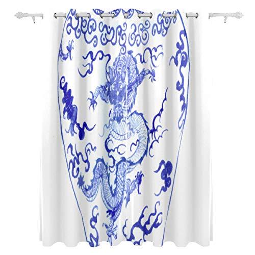 AGIRL Blaues und weißes Porzellan-dekorativer hängender Panel-Satz 2 Bedruckte Blackout-Vorhänge für Schlafzimmer-Wohnzimmer-Esszimmer-Fenster drapiert 54x84 Zoll-Vorhang - Porzellan-panel