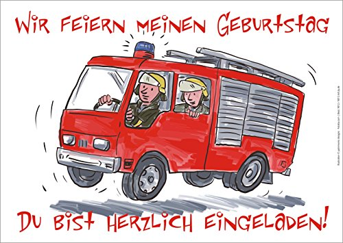 12 er Set lustige Einladungskarten Karten mit einem illustrierten Feuerwehrauto zum Kindergeburtstag oder zur Party von ArtUp