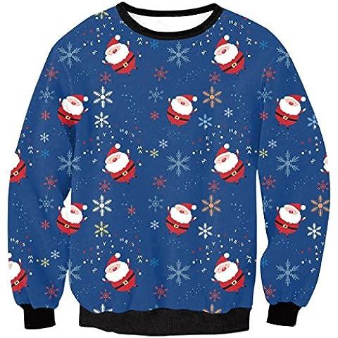 ZYQYJGF Casual Impreso Sudaderas Jerseys De Cuello Redondo De Manga Larga Costuras Sueltas Digital De Las Mujeres Tops Fiesta De Carnaval De Navidad De Deporte Camiseta . M