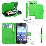 ebestStar - Compatibile Cover Samsung Ace 3 Galaxy GT-S7270, S7272, S7275 Custodia Portafoglio Pelle PU Protezione Flip +Mini Penna +3 Pellicole plastica, Verde [Apparecchio: 121.2 x62.7 x9.8mm 4.0']