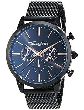 Thomas Sabo Herren-Armbanduhr ETERNAL CHRONO Mesh Black Rosé Chronograph Quarz Edelstahl WA0247-202-203-42 mm