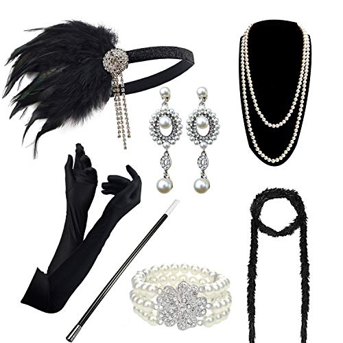 Accessoires Set Flapper Kostüm Gatsby Feder Lange Halskette Handschuhe Zigarettenhalter Stirnband Funkelnde Ohrringe ()