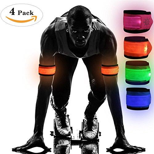 Tumao LED Armband 4 Stücke, LED Fahrradlampe Wristband Licht Sicherheitslicht für Erwachsene, Kinder, Haustiere, Fahrrad und alle Outdoor Sportarten