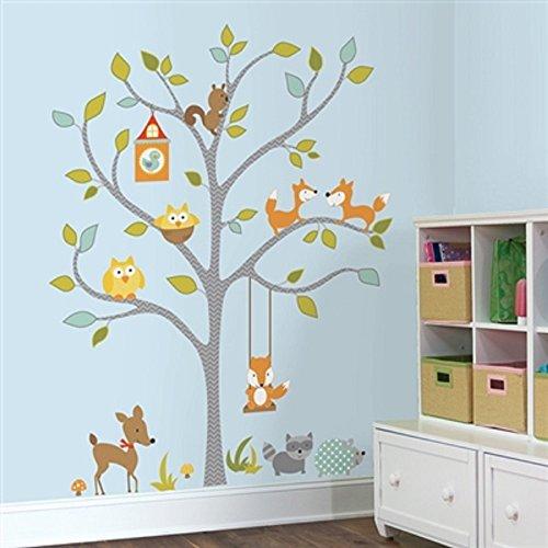(Hochwertiger Wandtattoo Tattoo Wand Tattoo Waldtiere auf dem Baum künstlerisch mit außergewöhnlichem Design macht die Wand zu einen echten Blickfang)