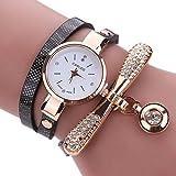 LSAltd Heiß Verkauf!!! Frauen Mädchen Klassische Lederne Rhinestone Uhr analoge Quarz Armbanduhren Großes Geschenk (Schwarz)