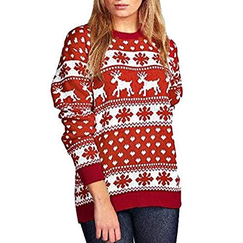 TEBAISE Frauen Damen Festliche Neuheit Frohe Weihnachten Gestrickte Pullover Damen Weihnachtsbaum Vintage Warme Rentier Jumper