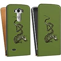 LG G3 Tasche Hülle Flip Case Dragon Drache Tribal