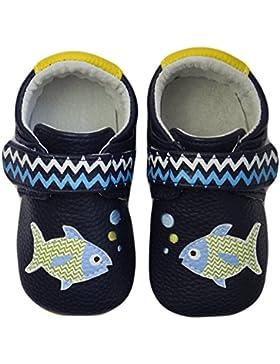 Rose & Chocolat Rcm Polka Fish Blue - Zapatos para Bebes Bebé-Niños