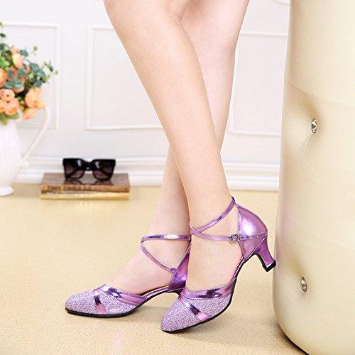XPY&DGX Latin Dance Schuhe im high-heeled nach Square Dance Schuhe Frauen lila Größe Tanzschuhe mit Modern Dance Schuhe, 6.