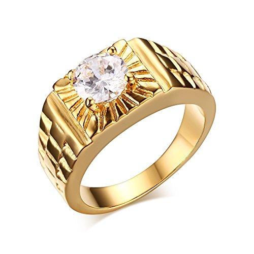Vnox, anello in acciaio inox da uomo, placcato in oro da 18carati, fede nuziale con zirconia cubica e acciaio inossidabile, 22, cod. rc-184